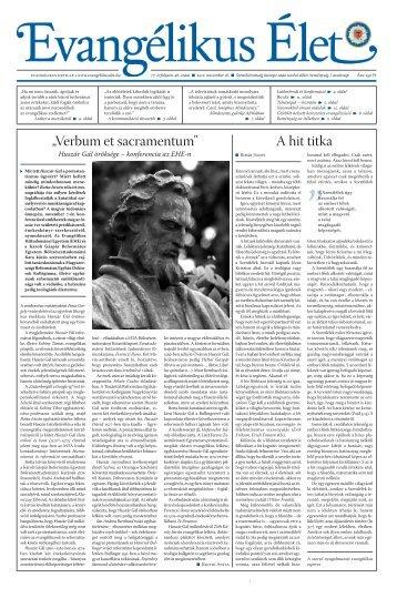 "Ahittitk a ""Verb um etsacram entum"" - Evangélikus Élet"