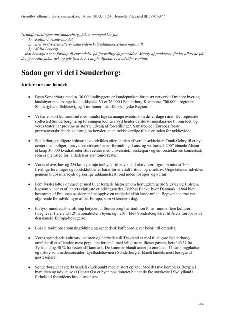 Sådan gør vi det i Sønderborg: - Sønderborg Erhvervs- og Turistcenter