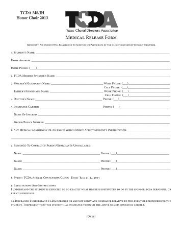 Medical Release Form - TCDA
