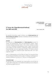 9. Turnus der Stipendienausschreibung für 2009 und 2010