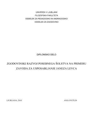 UNIVERZA V LJUBLJANI - Oddelek za pedagogiko in andragogiko