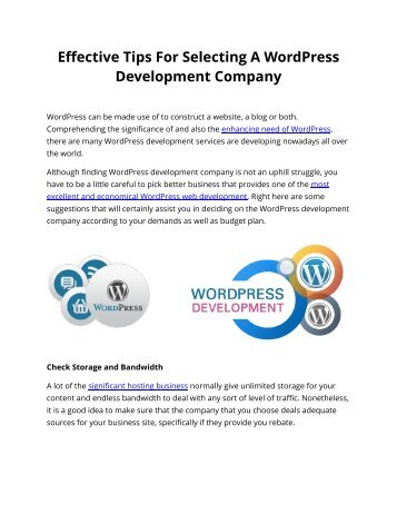 Effective Tips For Selecting A WordPress Development Company