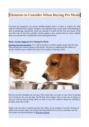 Elements to Consider When Buying Pet Meals