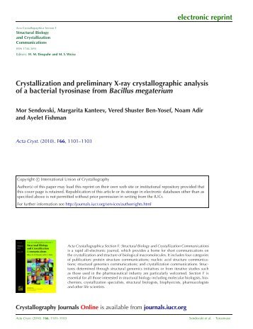 electronic reprint Crystallization and preliminary X-ray ...