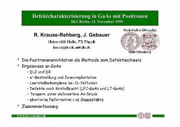 Defektcharakterisierung in GaAs mit Positronen - Positron ...