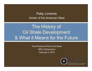 The History of OilSh l D l t Oil Shale Development ... - Colorado Law