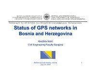Status of GPS networks in Bosnia and Herzegovina - BALGEOS