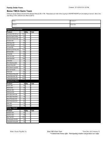Family Order Form - Boise YMCA Swim Team