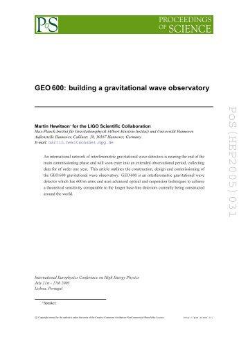 PoS(HEP2005)031 - LIGO Scientific Collaboration