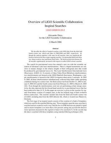 Overview of LIGO Scientific Collaboration Inspiral Searches