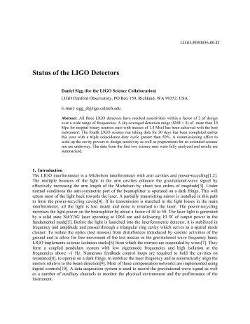 Status of the LIGO Detectors - LIGO Scientific Collaboration
