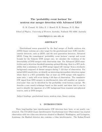 The 'probability event horizon' - LIGO Scientific Collaboration