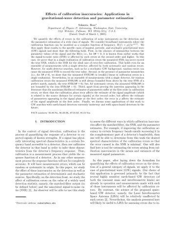Effects of calibration inaccuracies - LIGO Scientific Collaboration