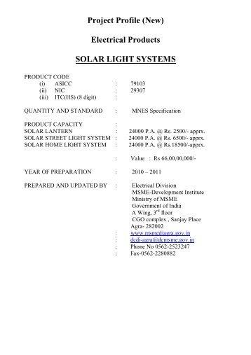 Modified Solar Light Systems PP - MSME-Development Institute,Agra