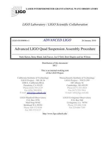 advanced ligo - DCC - LIGO Scientific Collaboration