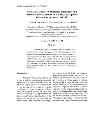 Ultrasonic Studies on Molecular Interaction and ... - Ultrascientist.org