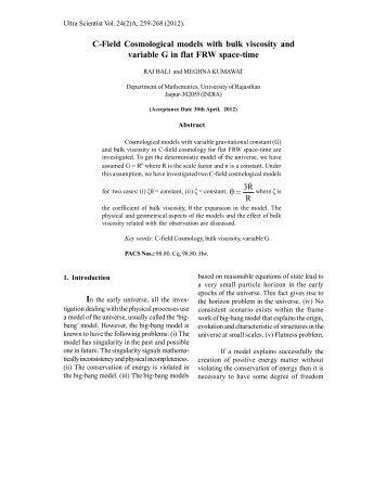 C-Field Cosmological models with bulk viscosity ... - Ultrascientist.org