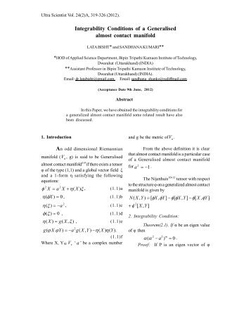 Integrability Conditions of a Generalised almost ... - Ultrascientist.org