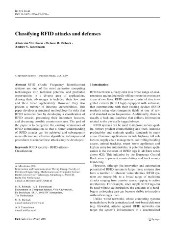 Classifying RFID attacks and defenses - Pattern Recognition ...