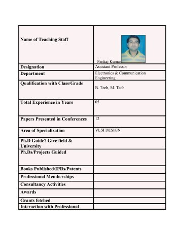 Name of Teaching Staff Designation Department Qualification with ...