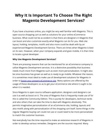 Why It Is Important To Choose The Right Magento Development Services?