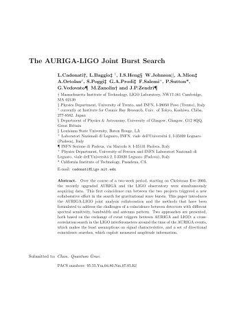 The AURIGA-LIGO Joint Burst Search - LIGO Scientific Collaboration