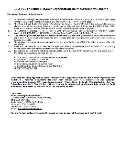 ISO 9001/14001/HACCP Certification Reimbursement Scheme