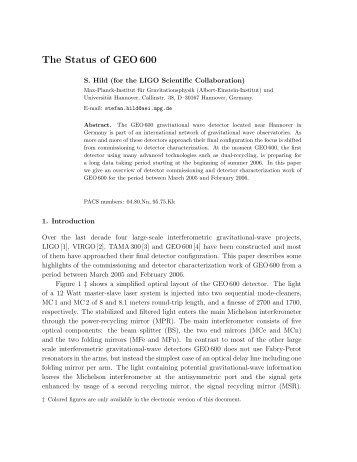 The Status of GEO 600 - LIGO Scientific Collaboration