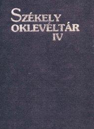 Székely Oklevéltár 4.