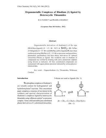 Organometallic Complexes of Rhodium (1 ... - Ultrascientist.org