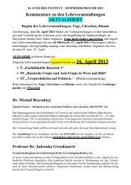 16. April 2013 - Slavisches Institut