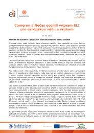 Cameron a Nečas ocenili význam ELI pro evropskou vědu a výzkum