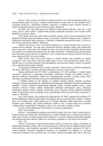 1968, 1. srpen, Čierna nad Tisou. - Záznam šestého zasedání ...