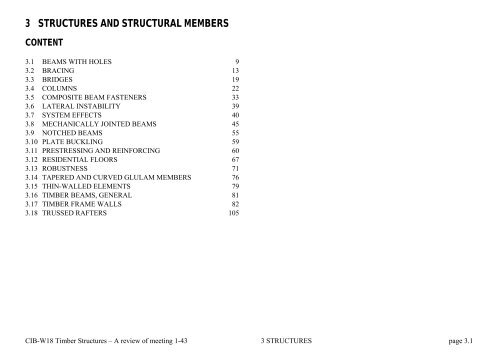 3 STRUCTURES AND STRUCTURAL MEMBERS - CIB-W18