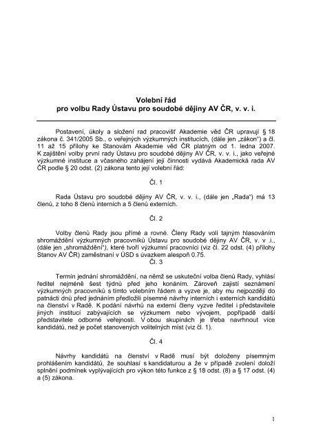 Volební řád pro volbu Rady Ústavu pro soudobé ... - Akademie věd ČR