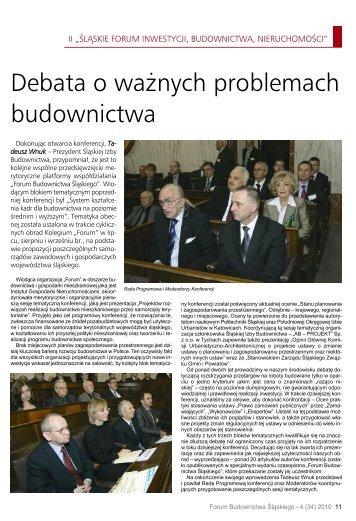 Debata o ważnych problemach budownictwa - Śląska Izba ...