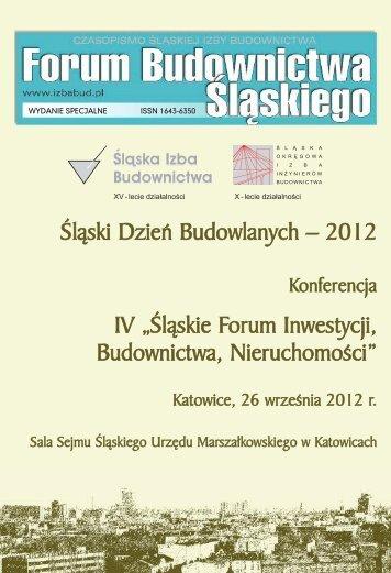 FORUM BUDOWNICTWA ŚLĄSKIEGO wydane specjalne 2012 - śląska izba ...