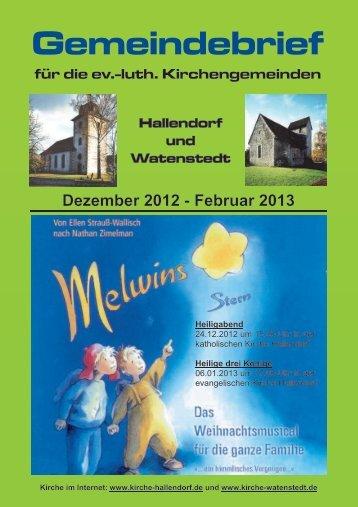 2012-12 Gemeindebrief.pdf, Seiten 1-20 - kirche-hallendorf.de
