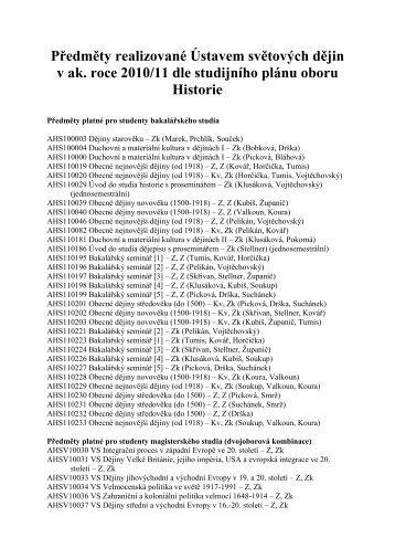 Předměty realizované Ústavem světových dějin v ak. roce 2010/11 ...