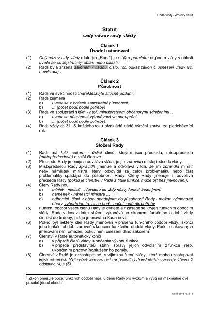Statut pro rady vlády