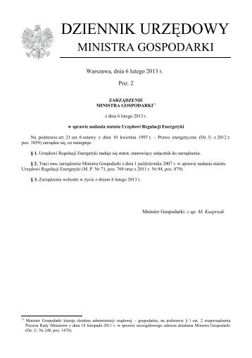 Zarządzenie Ministra Gospodarki z dnia 6 lutego 2013 r. w sprawie ...