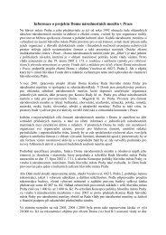Informace o projektu Domu národnostních menšin v Praze
