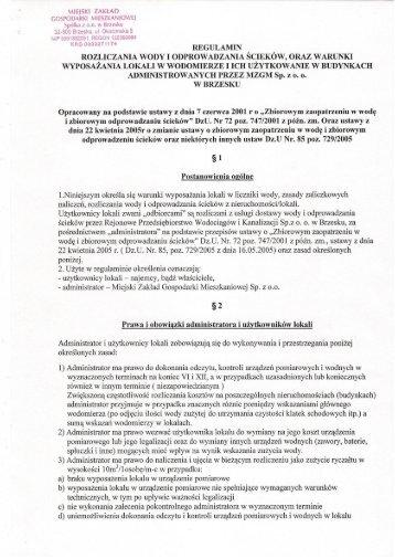 Regulamin rozliczania wody - MZGM Sp. z oo w Brzesku