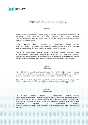 Etický kodex úředníků a zaměstnanců veřejné správy