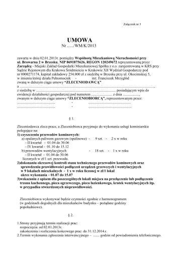 UMOWA - MZGM Sp. z oo w Brzesku