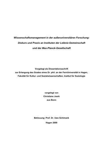 Wissenschaftsmanagement in der außeruniversitären Forschung ...