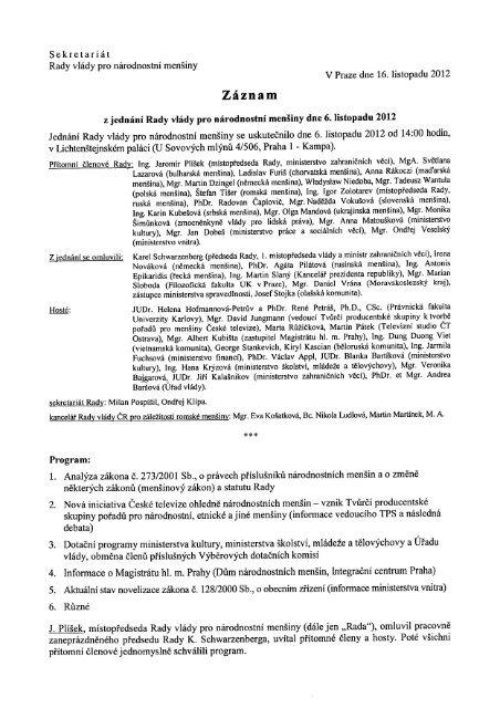 Jednání Rady dne 6. listopadu 2012 - Vláda ČR