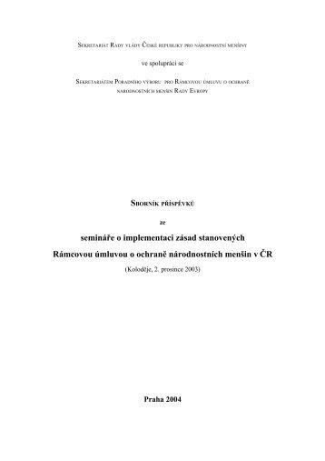 Sborník příspěvků ze semináře o implementaci zásad stanovených