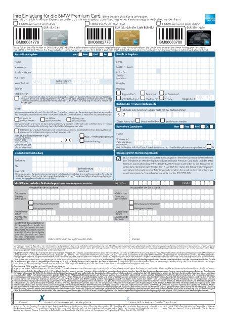 Unterschrift American Express Karte.Ihre Einladung Für Die Bmw Premium Card Bitte Gewünschte Karte