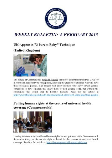 WEEKLY BULLETIN: 6 FEBRUARY 2015
